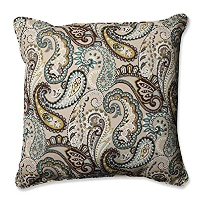 """Pillow Perfect Outdoor/Indoor Tamara Paisley Quartz Floor Pillow, 25"""" x 25"""", Blue - Includes one (1) outdoor floor pillow, resists weather and fading in sunlight; suitable for indoor and outdoor use Plush Fill - 100-percent polyester fiber filling Edges of outdoor pillows are trimmed with matching fabric and cord to sit perfectly on your outdoor patio furniture - patio, outdoor-throw-pillows, outdoor-decor - 61PiNNCslqL. SS400  -"""