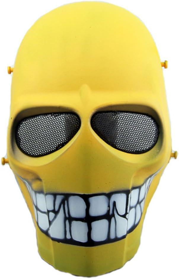 Máscara táctica de protección CS para paintball, airsoft, hockey, BB, disfraces, Halloween, cosplay, cobertura completa, Yellow Smile
