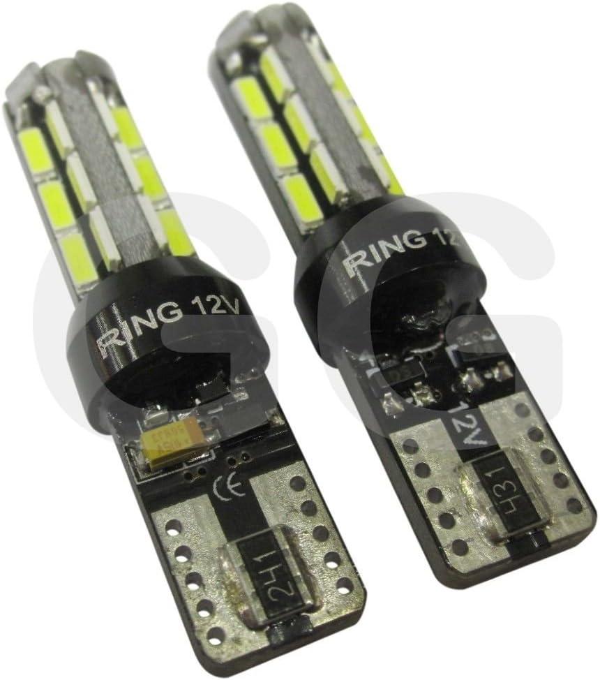 LED 501 Capless Bulbs 6000K Ice White Bulb CANbus Technology T10 Car Side Light x2