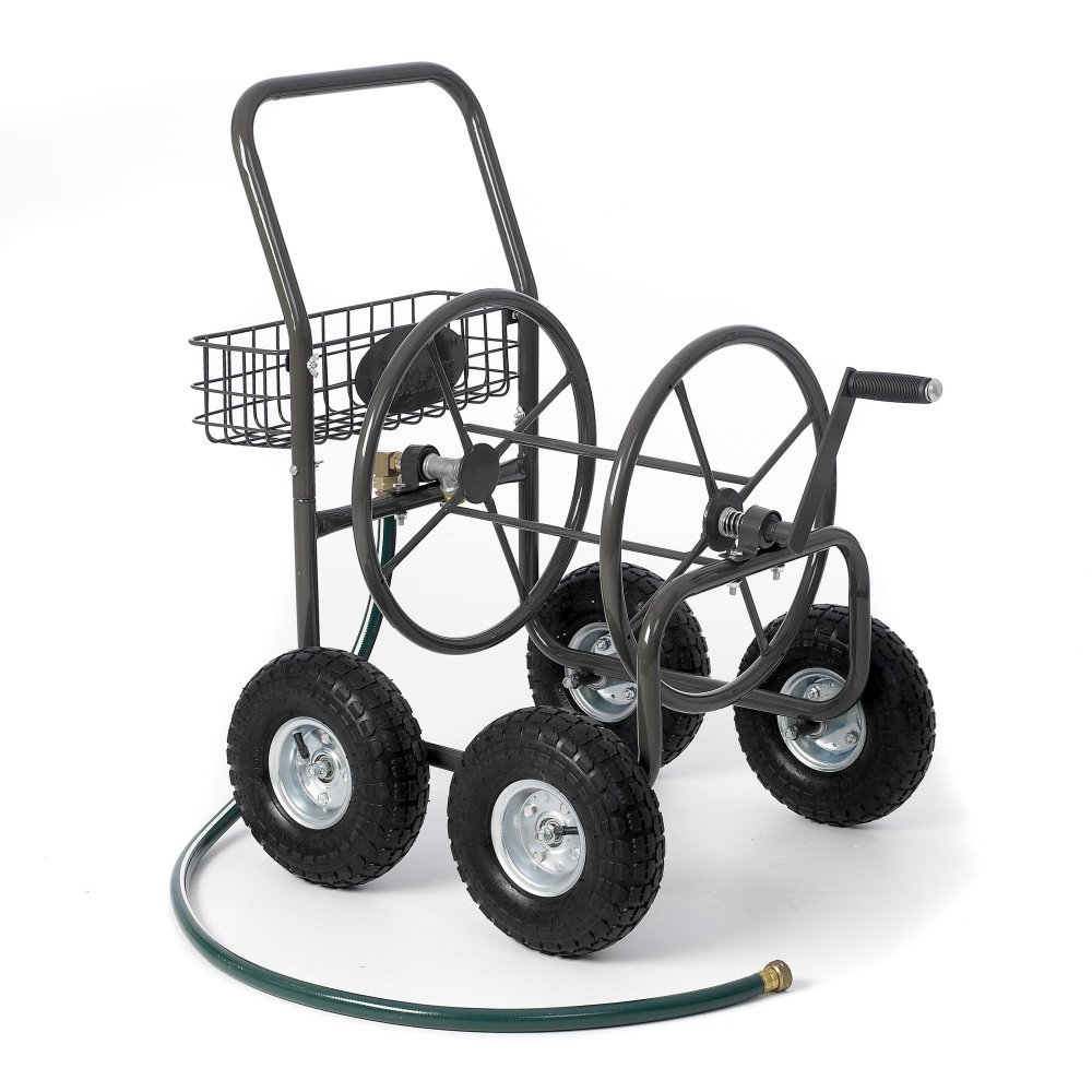Best Selling Most Popular 4 Wheel Rolling Solid Steel Hose Cart- Rust Weather Resistant With 250' Capacity 5/8'' Hose- Pneumatic Tires Easy Rolling Mounted Basket Carrier Hand Crank Roller Heavy Duty