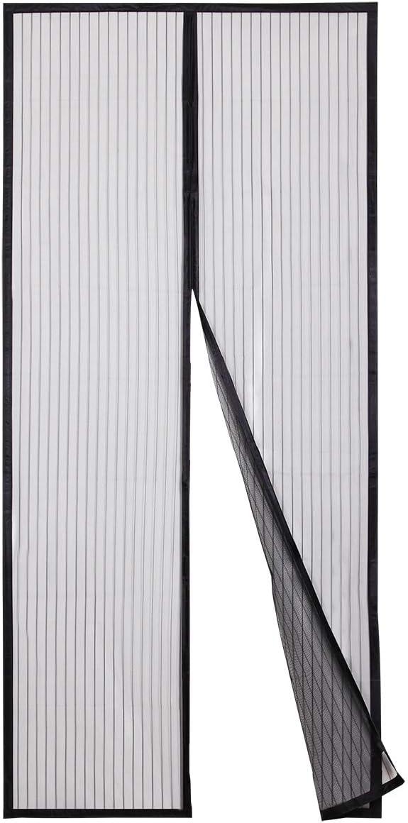 Sekey Cortina Magnética de Puerta a Prueba de Mosquito para Puertas de Madera, Puertas de Hierro, Puertas Metálicas, Puertas del Balcón, Puertas de RV, Cierre Magnético Automático,200 x 80 cm, Negro