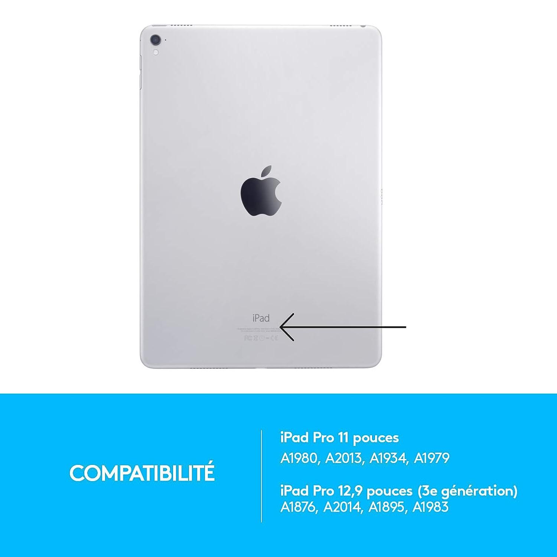 Logitech SLIM FOLIO PRO /étui pour clavier Bluetooth r/étro/éclair/é pour iPad Pro 12,9 pouces 3e g/én/ération