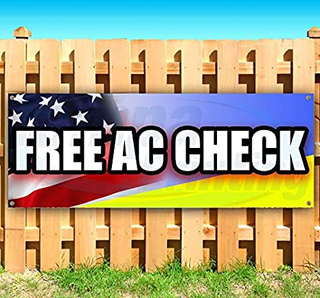 Free AC Check 13 oz Heavy Duty Vinyl Banner Sign with Metal Grommets Store New Flag, Many Sizes Available Advertising
