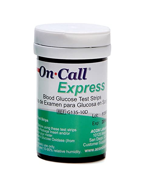 Amazon.com: On Call Express Blood Glucose Test Strips (50 count): Health & Personal Care