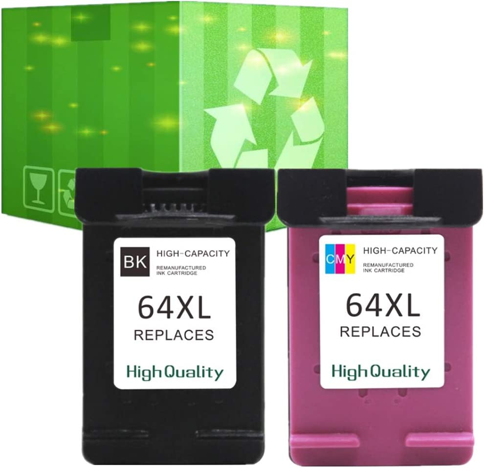 J2INK Re-Manufactured Ink Cartridge Replacement for HP 64XL 64 XL N9J92AN N9J91AN Combo Pack 1 Black+1 Tri-Color with Ink Level Display Used in HP Envy Photo 6252 6255 6258 7155 7158 7164 7855 7858