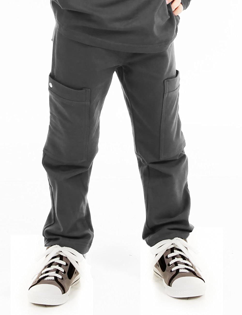 Made In USA Navy Nano Boys Knit French Terry Stretch Slim//Skinny Fit Cargo Pants