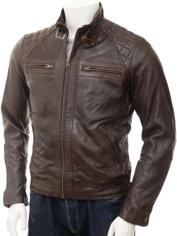 Men Leather Jacket New Soft Lambskin Slim Biker Bomber Coat LTN1281