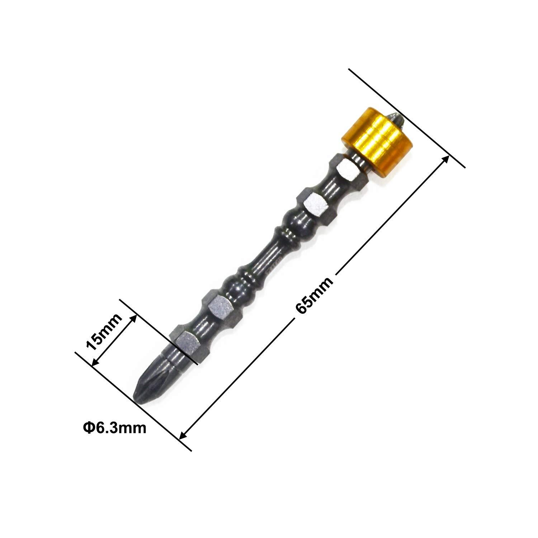 GOXAWEE 2Pcs PH2 Magnetic Screwdriver Bit D1 Steel /¡/ 1//4 Hardness 65MM Cross Head Anti-Skid Screw Driver Bit Philip Head Double End Screw Drive Tools