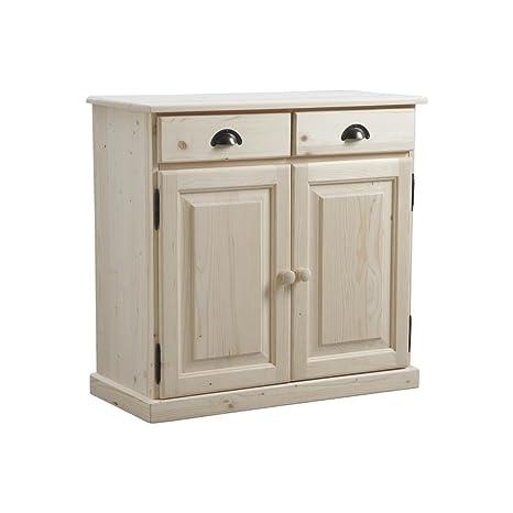 Mobiletto in legno grezzo, 2 porte e 2 cassetti, 85 x 40 x 83 cm ...