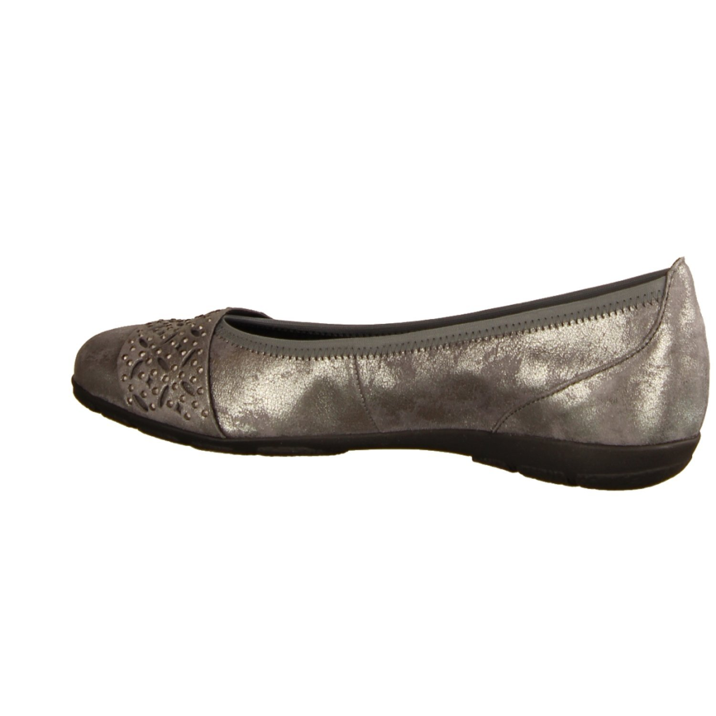 Gabor Grau, 94160-89- Damenschuhe Modische Pumps/Ballerina, Grau, Gabor leder (caruso metallic), absatzhöhe: 18 mm 96329a