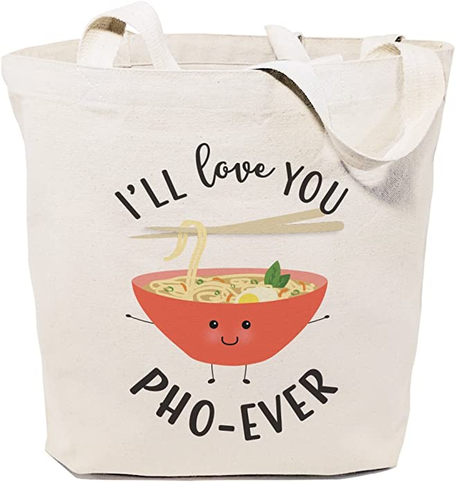 The Cotton & Canvas Co. Food Pun Reusable Grocery Bag and Farmers Market Tote Bag