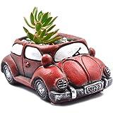 Ascrafter Cement Red Car Succulent Planter Flower Pots Succulent Plants Containers