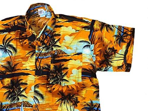 Hawaiihemd Hawai Freizeit Hemd Shirt Viskose orange gelb Palmen schwarz