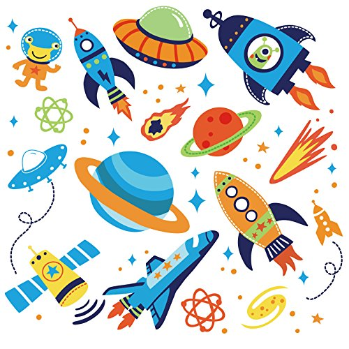 Super Space Explorer Decorative Peel & Stick Wall Art Sticker Decals -