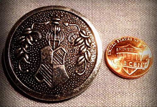 Metalized Plastic Buttons - ONE Large Silver Tone Metalized Plastic Button Crest Heraldic 1 1/2