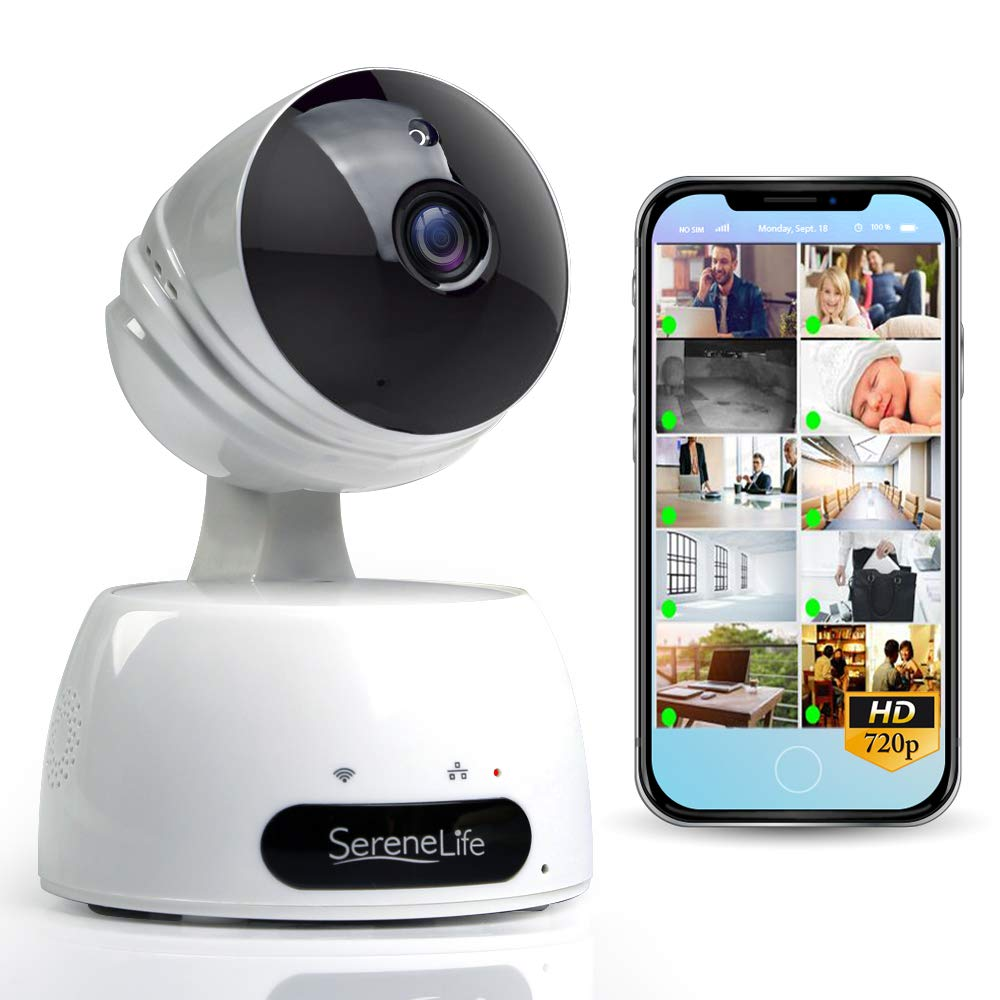 SereneLife Indoor Wireless IP Camera - HD 720p Network Security Surveillance Home Monitoring w/ Motion Detection, Night Vision, PTZ, 2 Way Audio, iPhone Android Mobile App - PC WiFi Access - IPCAMHD30 by SereneLife