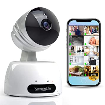 SereneLife Indoor Wireless IP Camera - HD 720p Network Security  Surveillance Home Monitoring w/ Motion Detection, Night Vision, PTZ, 2 Way  Audio,