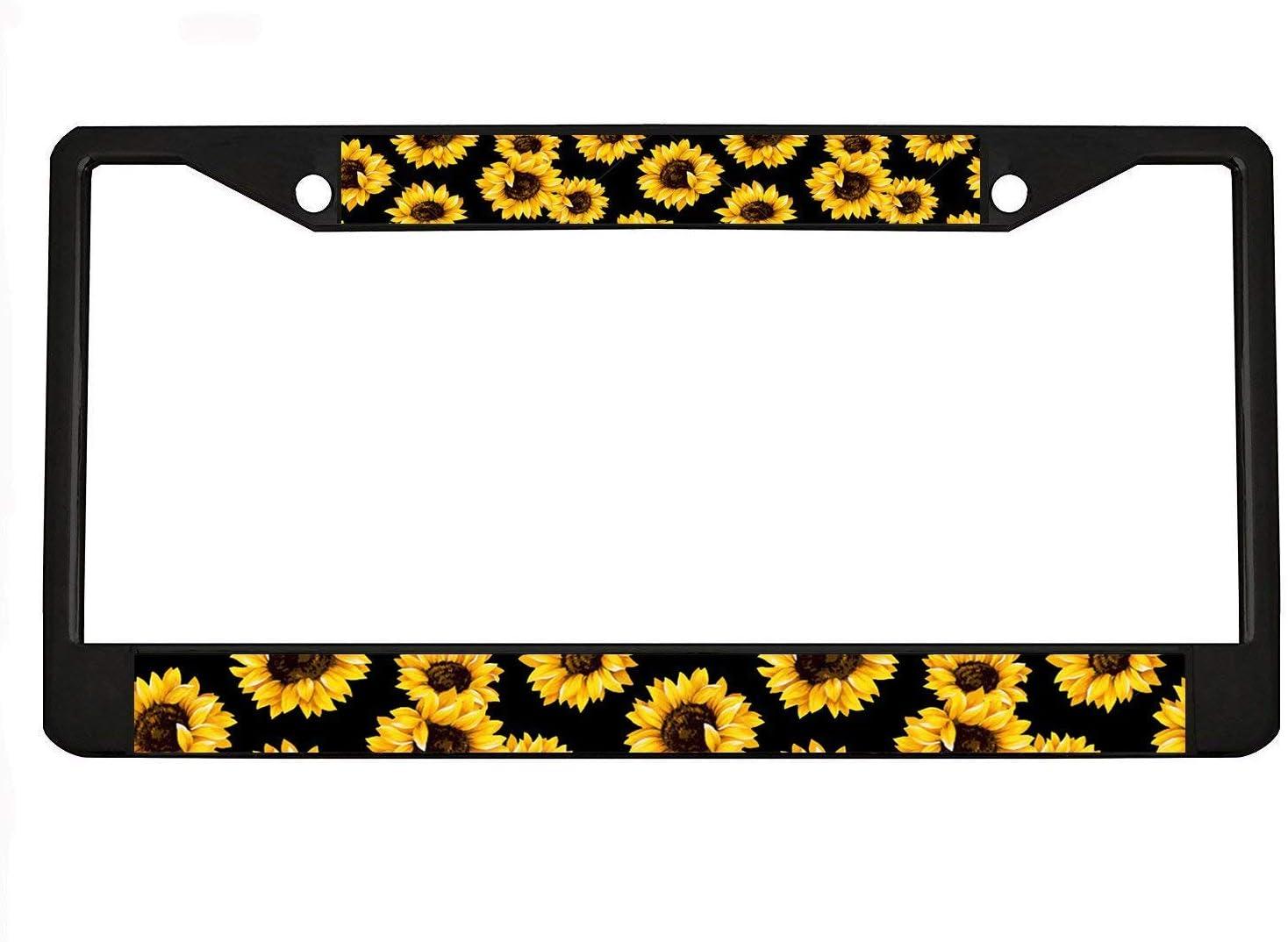 for Women Men 12x6 UTF4C Car License Plate Frame Sunflowers Metal Auto Covers