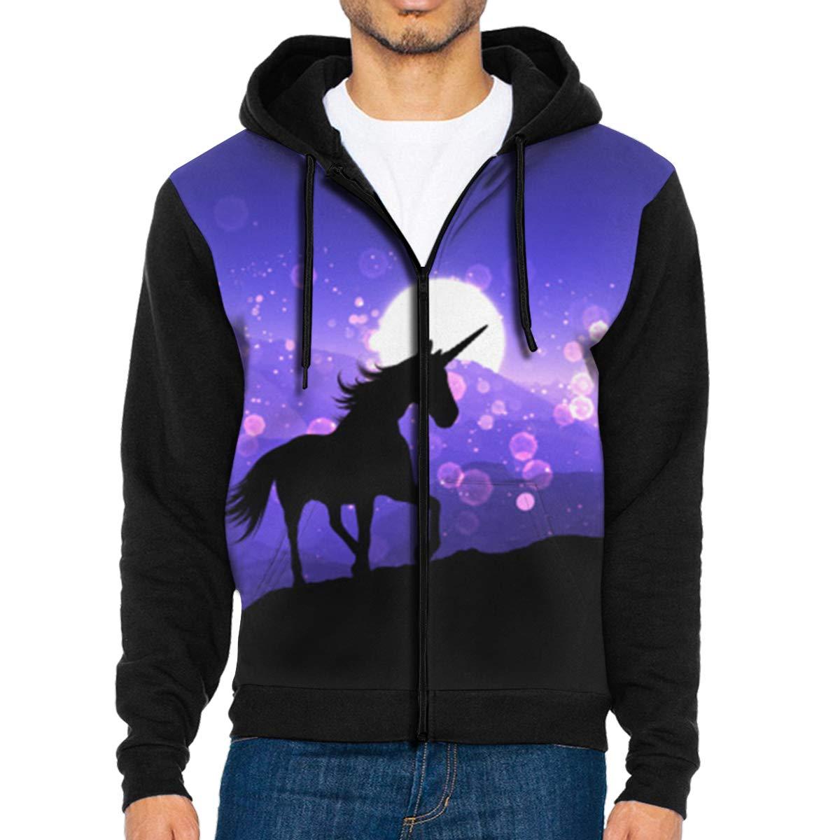Fantasy Unicorn Purple Sunset Lanscape Lightweight Mans Jacket with Hood Long Sleeved Zippered Outwear