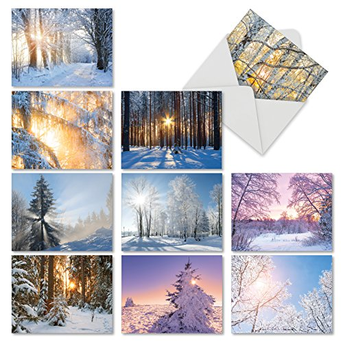 M6655XSB Christmas Sunrise: 10 Assorted Blank Christmas Note Cards Featuring Sun Shinning on Stunning Snow Covered Vistas, w/White Envelopes.