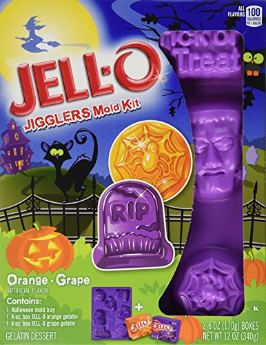 Halloween Jello Molds (JELL-O Jigglers Halloween Mold Kit, Orange and Grape, 12 Ounce)