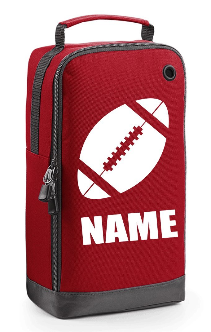 Personalised Rugby Boot Bag with Carry Handle - Rugby Ball Motif GoGo Graphics BG540_RUGBY01_Ball_Black