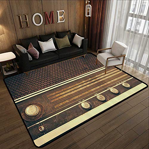 (All Weather Floor mats,Vintage Decor,Old Antique Retro 60s Radio Music Player Loudspeakers Buttons Image,Brown and White 71