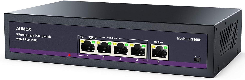 Aumox 5 Port Gigabit POE Switch, 4 Port POE 78W, Gigabit Ethernet Unmanaged Network Switch, Sturdy Metal Housing, Plug and Play, Traffic Optimization (SG305P)