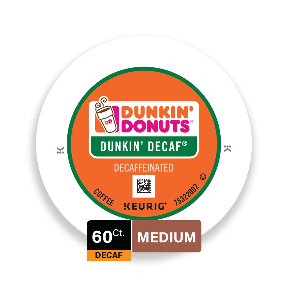 Dunkin' Donuts Medium Roast Decaf Coffee, 60 K Cups for Keurig Makers