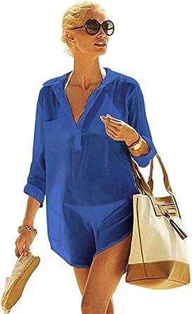 heekpek Mujer Manga Larga Grande Tunicas Playa Profundo Cuello en V Casual Solid Color Camisa para Playa y Piscina Bluson Camisolas y Pareos Playa Verano: Amazon.es: Ropa y accesorios