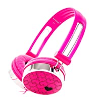RockPapa Over Ear Love Hearts Headphones for Kids Boys Girls Childs, Noise Isolating, Adjustable Stereo Headphone for Surface iPod iPhone iPad mini iPad Air Tablets PC MP3 Pink