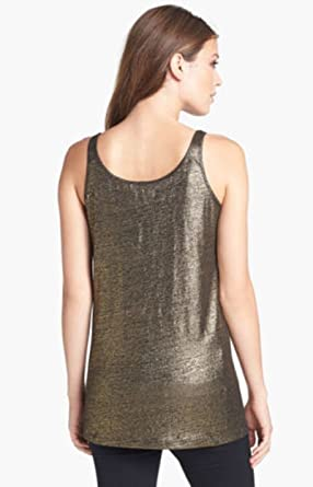 8f138cdb4f2 Image Unavailable. Image not available for. Color  Eileen Fisher Organic  Linen Jersey Shimmer Black Gold Long Slim Tank ...