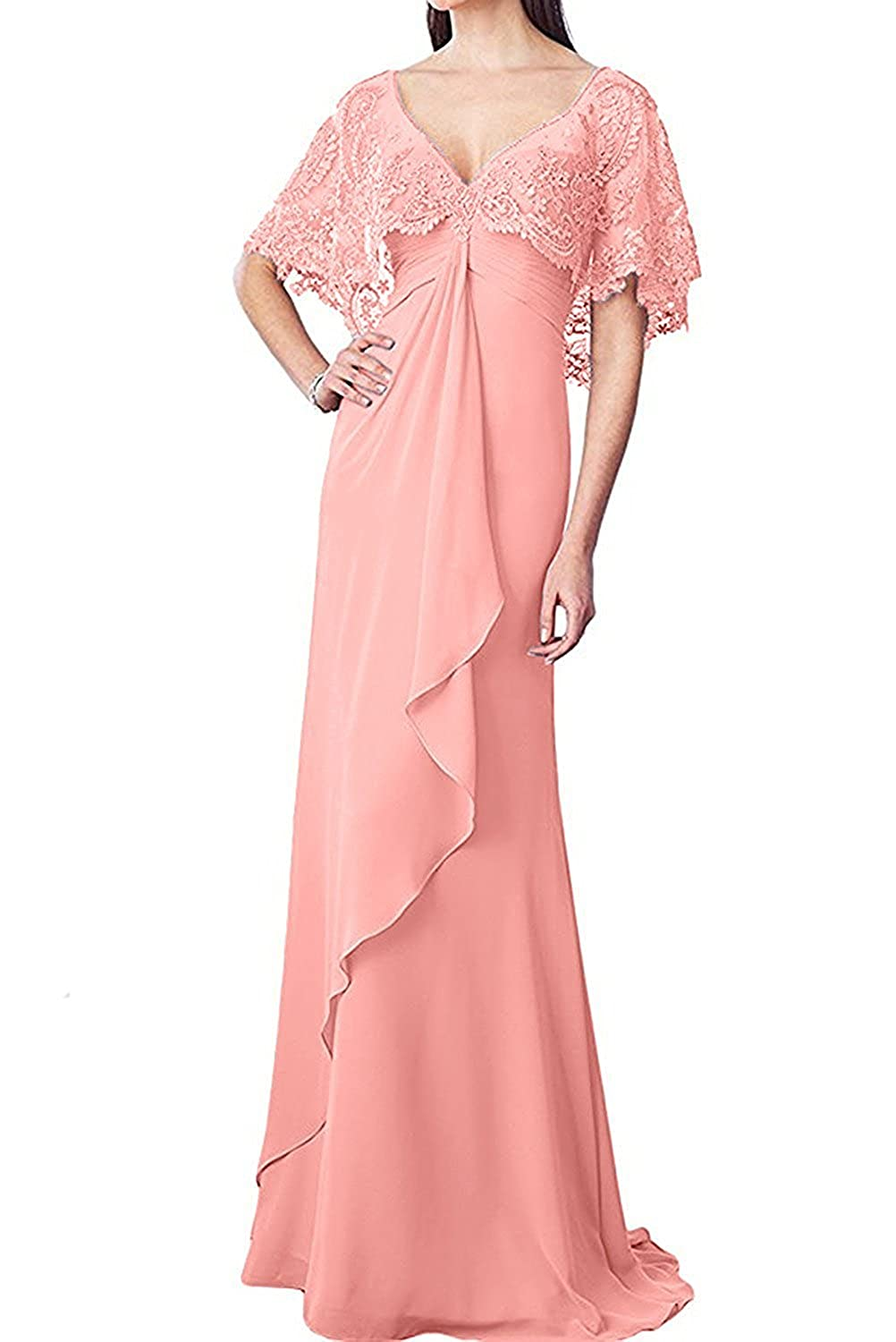 Mother of The Bride Dresses Long Evening Dress Chiffon Lace Cloak Mother Dress for Wedding