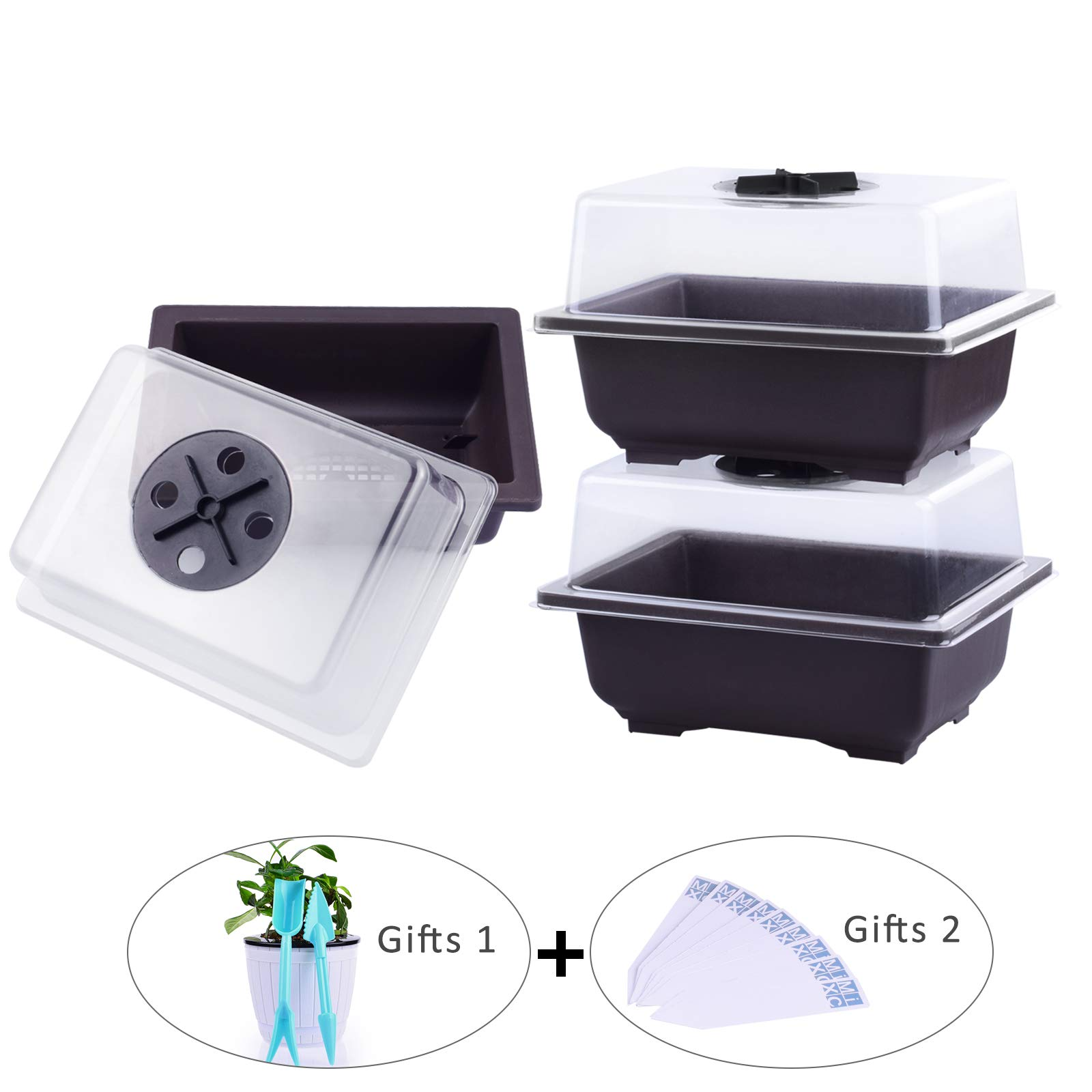 MIXC Seed Starter Tray Seedling Trays Plant Grow Kit Propagators with Lid and Base Vented Humidity Domes Transparent Cover for Succulent Seeds Germination Horticulture Growing 6-inch,3pack (6In) by MIXC