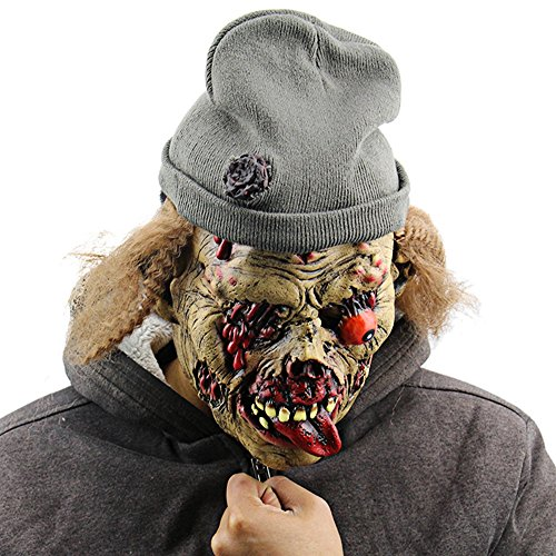 [Undead Zombie Old Man Latex Mask with Hat for Masquerade Halloween Costume Party] (Flower Zombie Costumes For Girls)