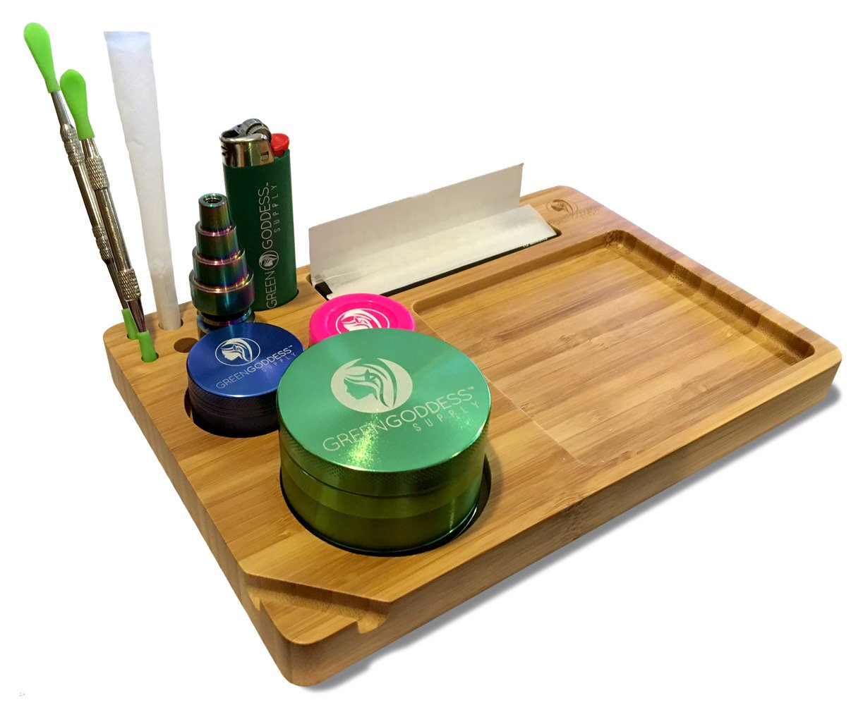 High Quality Wooden Bamboo Rolling Tray (9'' x 6'') by Green Goddess Supply