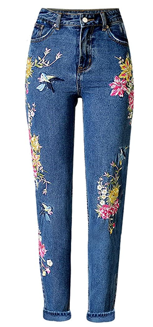 Womens Blue Moto Floral Flower Embroidered High Waisted Mom Jeans