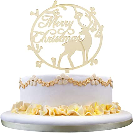 Merry Christmas Acrylic Cake Topper Cupcake Topper For Xmas Cake Decoratio FIN