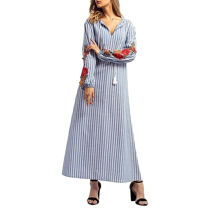 Faldas Largas Mujer Verano Rayas, Zolimx Vestido Largo del Bordado de Raya de Las Mujeres