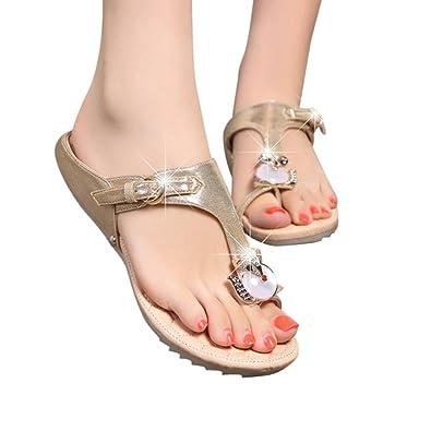 AMUSTER Mode Frauen Strass Flache Ferse Anti Skidding Strand Schuhe Sandalen Slipper Heel Sandalen Sommer Strand Flip Flops Flache Schuhe Hausschuhe (40, Silber)