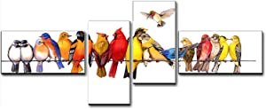 Bedroom Wall Decor Above Bed 60 Inch , Cuadros Para Dormitorios - Birds on a Wire Picture Print on Canvas Painting Art for 60