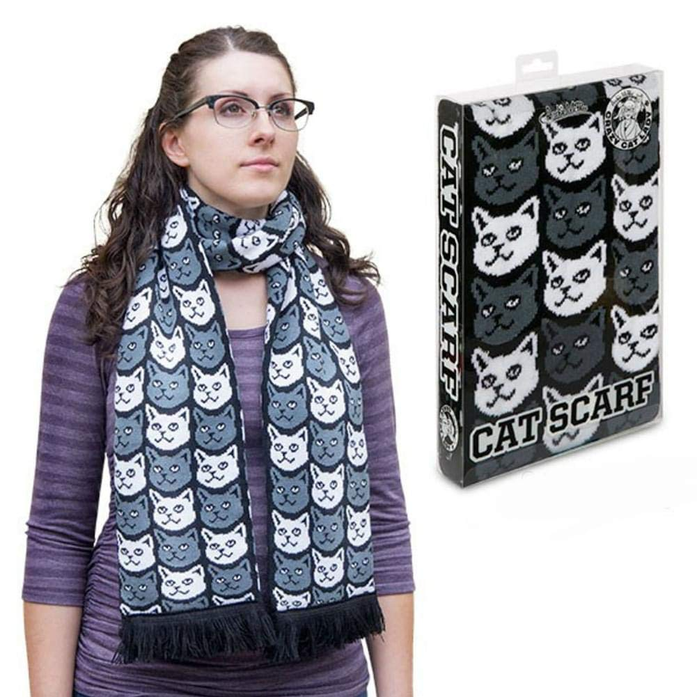 Cat 71' Soft-Knit Acrylic Scarf Archie Mcphee 12612