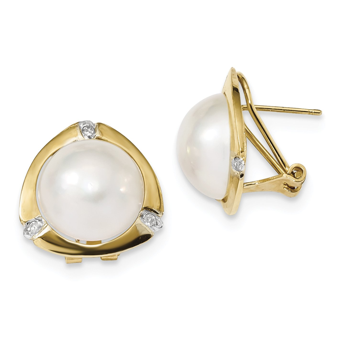 ICE CARATS 14k Yellow Gold 13mm White Mabe Freshwater Cultured Pearl .06ct Diamond Omega Back Ball Button Stud Earrings Fine Jewelry Gift Set For Women Heart
