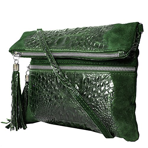 Shoulderbag Croco 2080 21 look 2 Leather Clutch real Green Mod leather 24 smooth leather 28 amp; 5 croco ZIgq7W5wq
