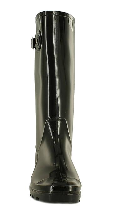 Neu Damen/Damen Schwarz Langes Bein Gummistiefel Stiefel mit Stollen Sloe - Schwarz - UK Größen 3-8 - Schwarz, 37