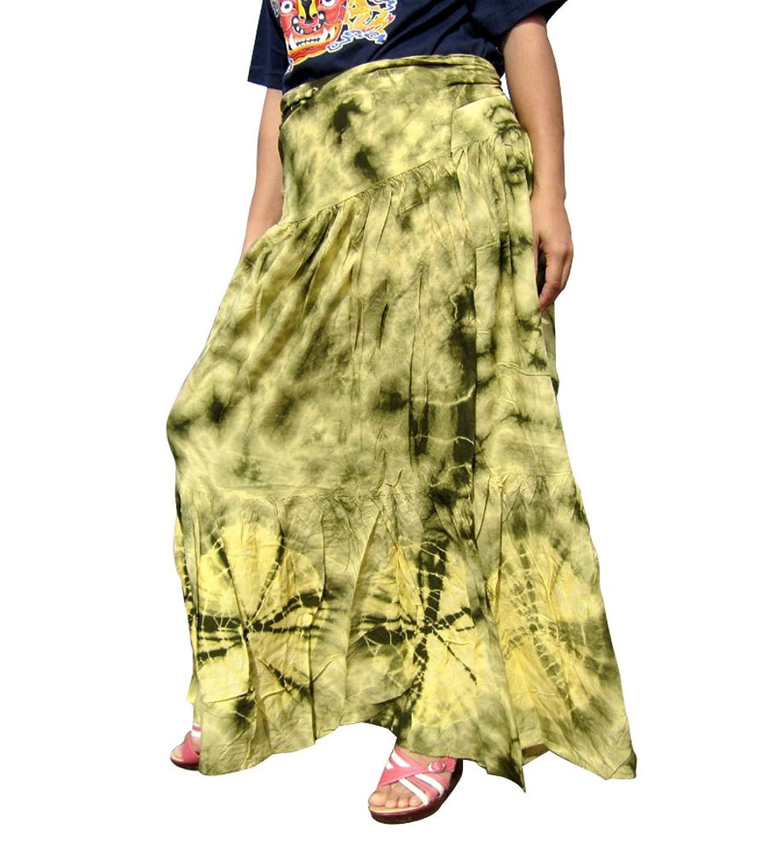 RaanPahMuang Brand Wide Pleated Viscose Wrap Tied Skirt with Tie Dye Gypsy Art
