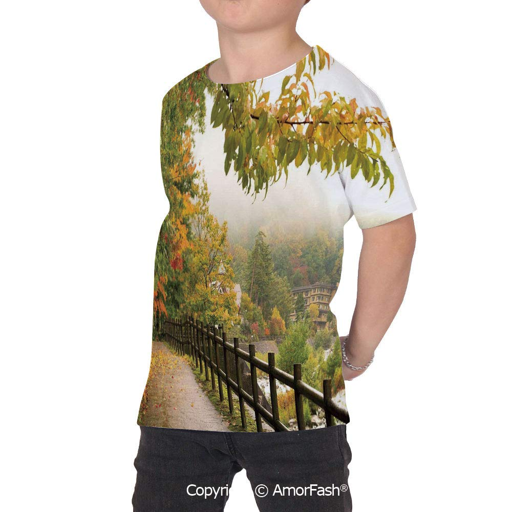 PUTIEN Japanese Lovely Printed T-Shirts,Crew Neck T-Shirt of Girls,Polyester,Scenic Vie
