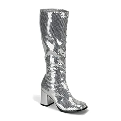 8bebc5c235a Bordello Womens Knee Boots 3 Inch Block Heel Sequins Sexy Knee High Silver  Size  6