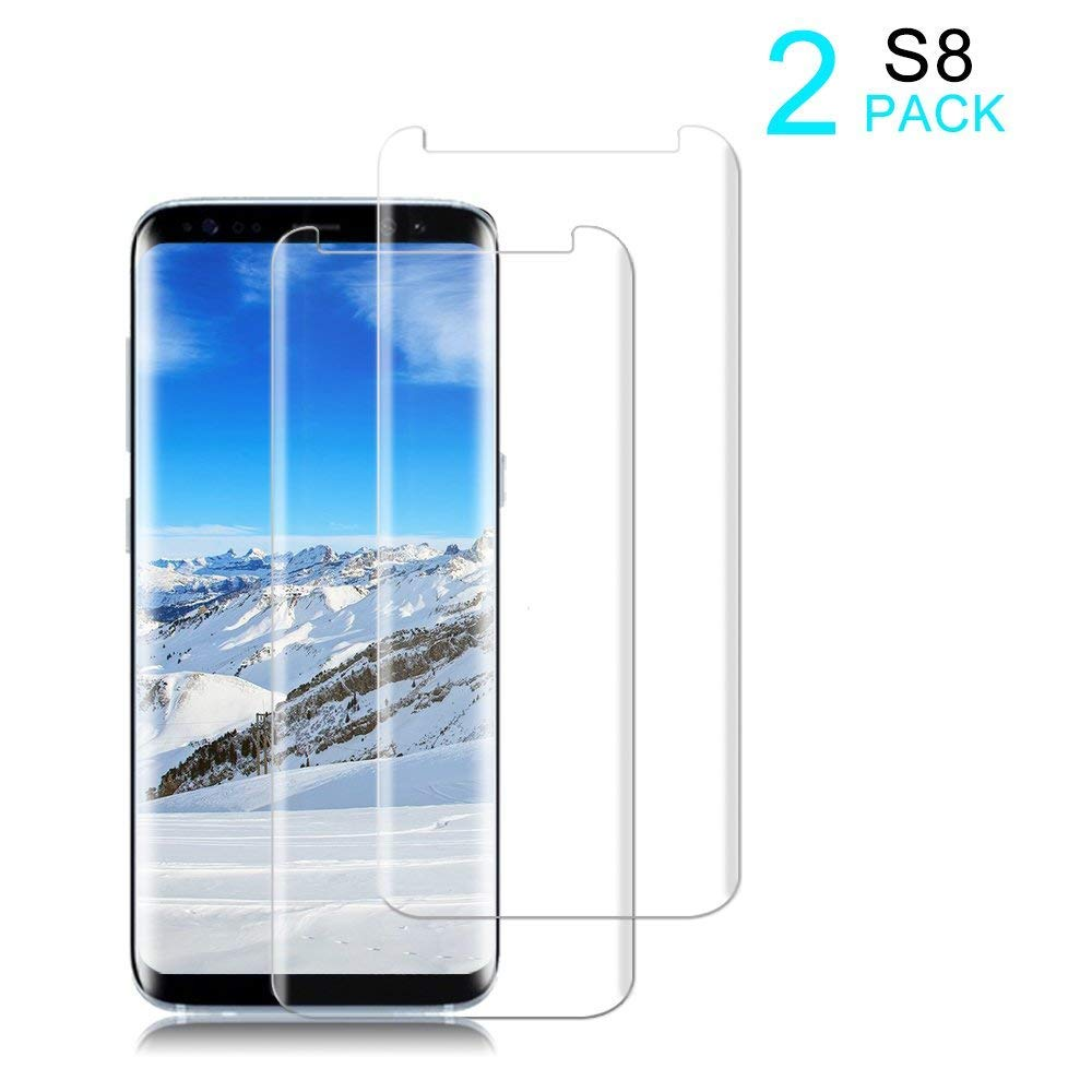 [2 Pack] Galaxy S8 Screen Protector [9H Hardness][Anti-Scratch][Anti-Bubble][3D Curved] [High Definition] [Ultra Clear] Tempered StinkLight Glass Screen Protector Compatible Samsung Galaxy S8