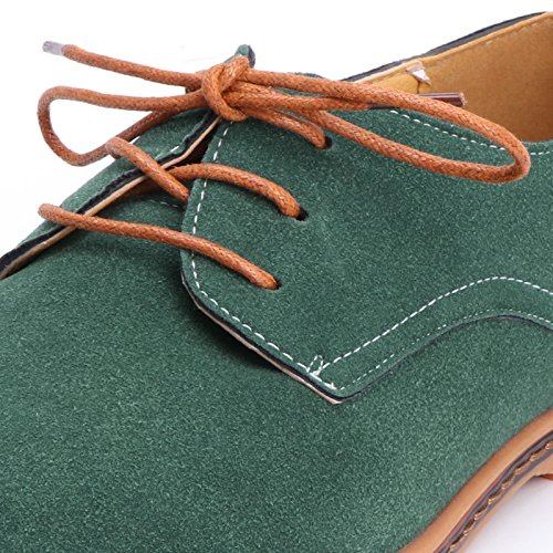2018 Men LANDUM Shoes Rubber Classic Leather Loafers Green Casual Nubuck Sole Up Lace 46 Oxfords Flat q55nwdC1x